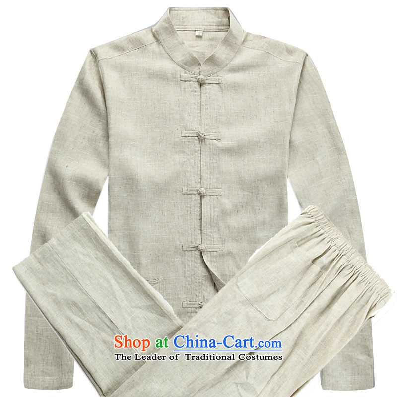 The autumn and winter men long-sleeved sweater Chinese Classics Han-men long Tang dynasty beige jacket kit?S