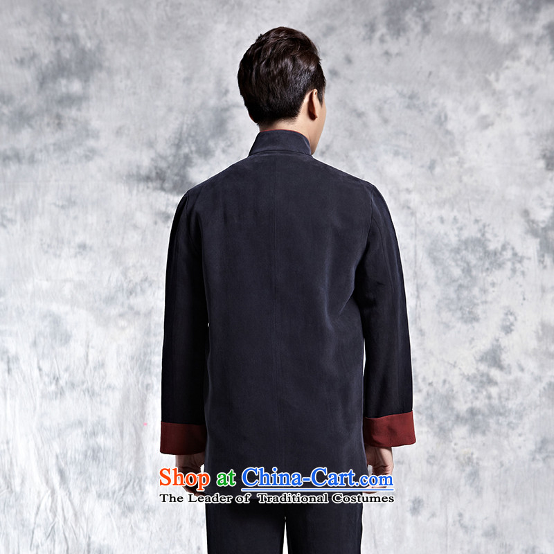 Elizabeth cloud of incense China wind collar disc detained Tang dynasty mall autumn and winter New Silk incense cloud for high-end menswear yarn black T-shirt聽, L, incense cloud Lisa (xiangyunsha) , , , shopping on the Internet