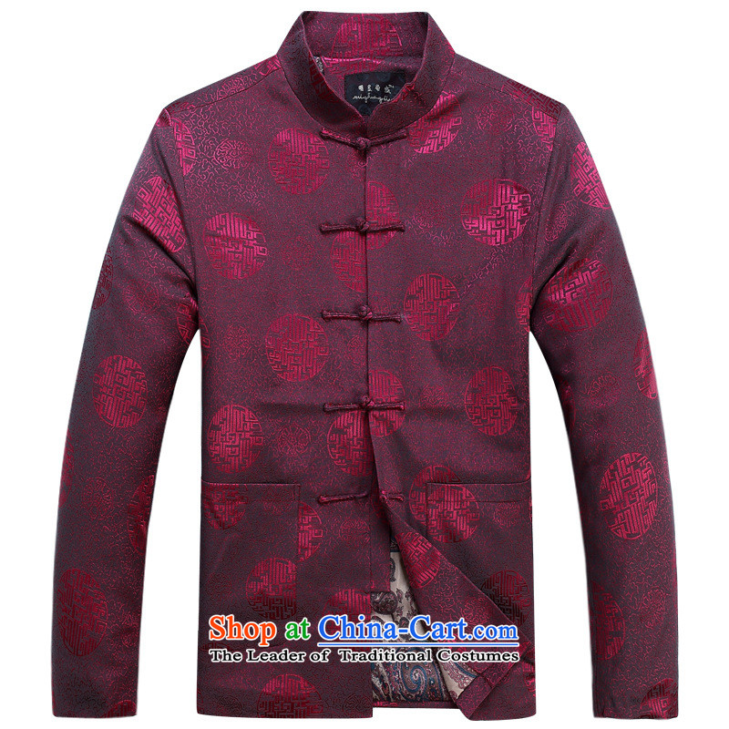 In older men long-sleeved sweater of autumn and winter Chinese disc loading cotton clothing clip dad jacket robe red single Yi?180
