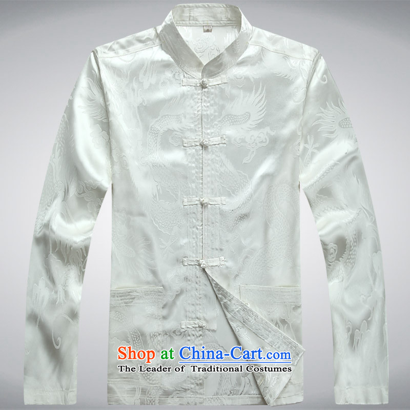 Men's long-sleeved father in the autumn of the Year of Older Persons with Grandpa China wind men kit shirt pants White�L