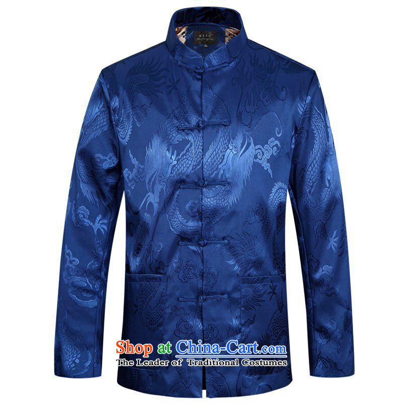 Tang dynasty men of autumn and winter clothes in the new elderly father jackets jacket coat Chinese cotton coat blue thin cotton?180