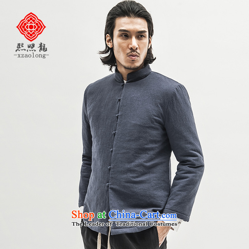 Hee-yong winter Chinese retro snapshot cotton coat Men's Mock-Neck robe folder Cotton Men's Jackets China wind traditional blue stripes聽L