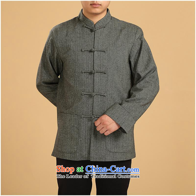 The autumn and winter, Tang dynasty men in long-sleeved sweater knit sweater older jacket coat with father robe gross? the new carbon single Yi 2XL