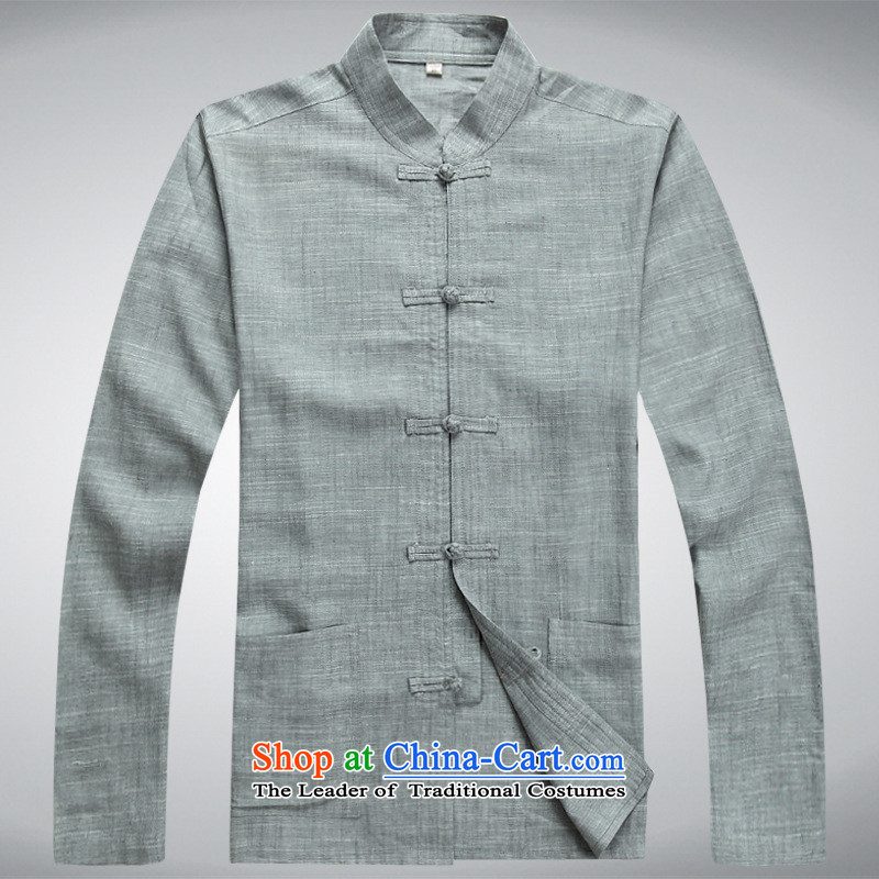 The fall of men in Tang Dynasty long-sleeved elderly men father blouses larger linen china wind kit clothing pants Tsing gray?3XL