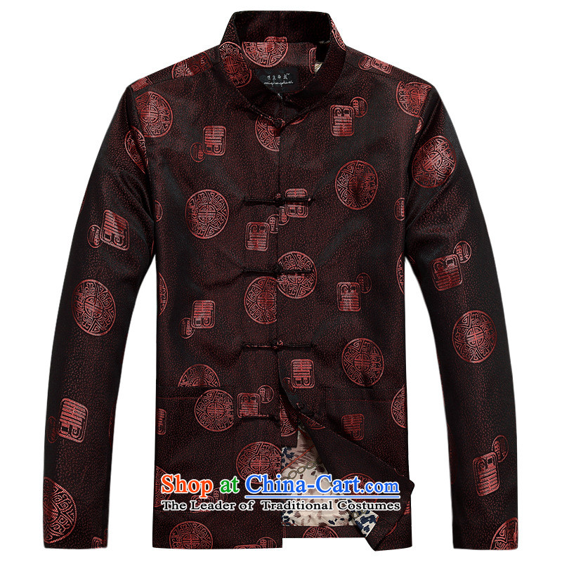 In older men Tang dynasty autumn and winter new long-sleeved shirt with Chinese cotton jacket dad cotton coat jacket lady single tri-color coat?175