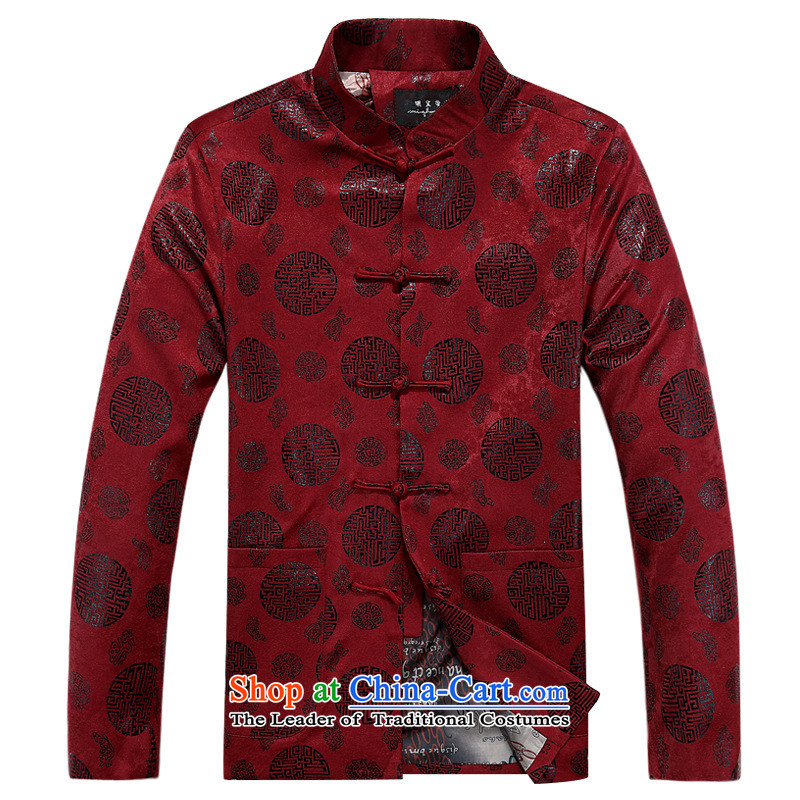 Wind men Tang jackets older Chinese Disc detained jacket collar long-sleeved shirt autumn and winter clothing cotton swab dark red single Yi聽180