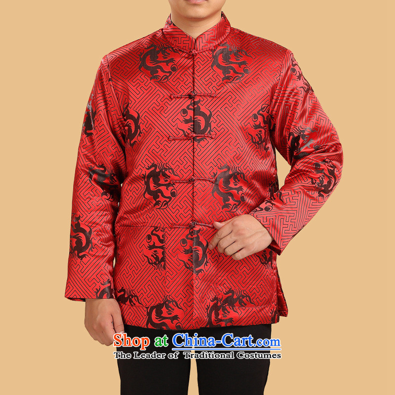 Men's Jackets older Chinese Tang Jacket Long-Sleeve Shirt thoroughly dad autumn and winter dark red cotton robe replacing?3XL