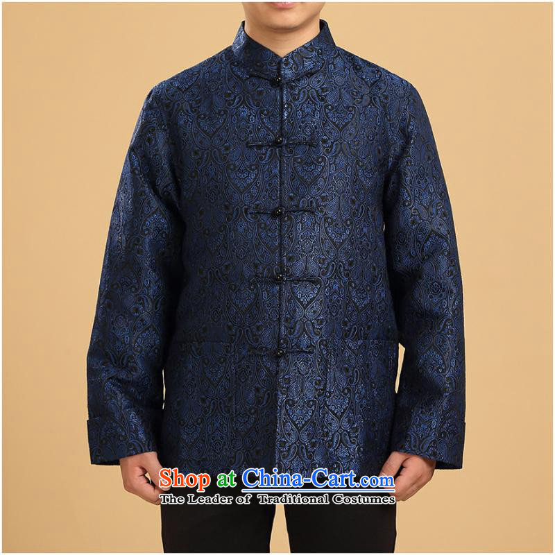 Tang Dynasty men in long-sleeved-elderly men fall and winter jackets Chinese men's shirts jacket Han-load dark violet single father?3XL Yi