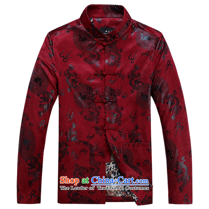 Men of autumn and winter jackets in cotton-tang older NEW SHIRT cotton coat dad boxed Chinese robe thin red cotton?170