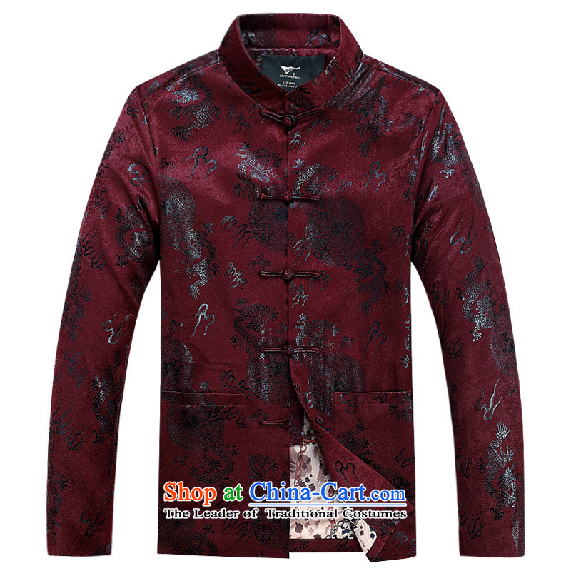 Men of autumn and winter jackets in cotton-tang older new shirt cotton coat dad boxed Chinese robe thin red cotton聽170, the United States in accordance with the property (meitianyihuan days) , , , shopping on the Internet