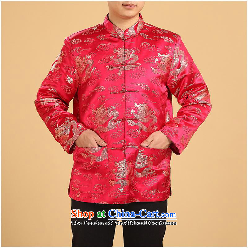 In older men Tang Gown robe Wind Jacket coat Chinese boxed long-sleeved shirt thoroughly father of autumn and winter clothing?3XL Kim Red 1