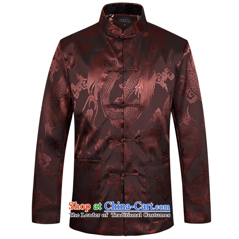 Tang Long-sleeved shirt with men of autumn and winter sets in older ethnic jacket father jackets new coffee color?190