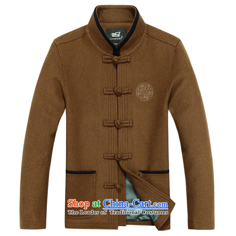 Tang dynasty of autumn and winter men wool coat in older Dad? blouses long-sleeved jacket wind navy gross??M