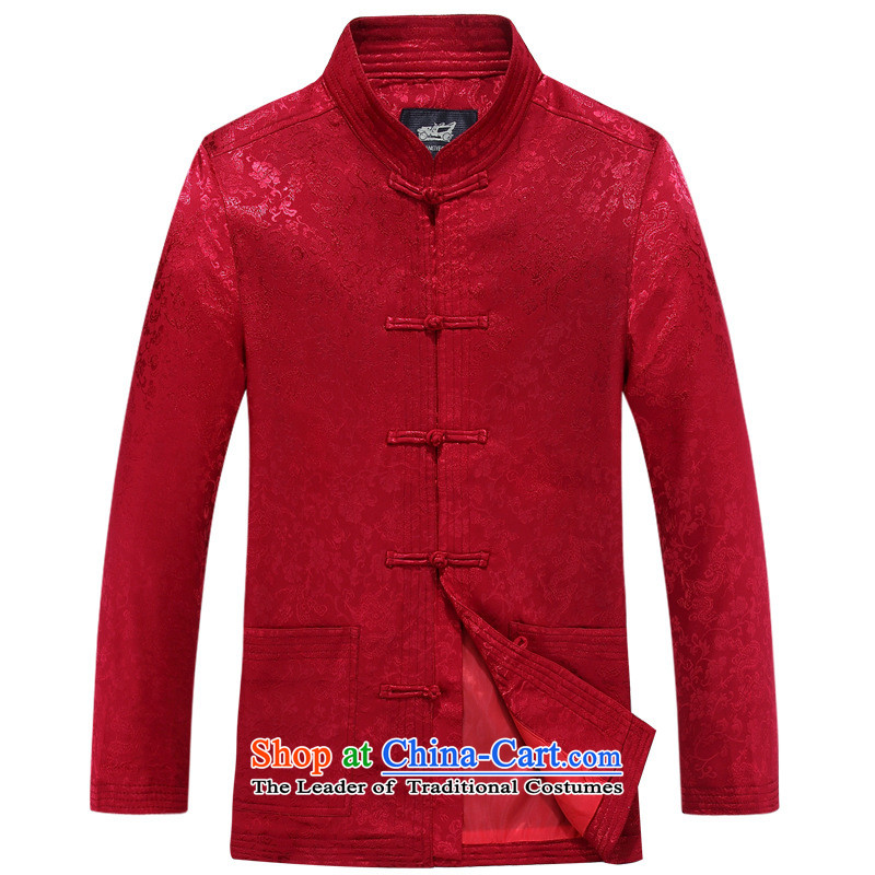 Men's long-sleeved father in Tang Dynasty older grandfather autumn jacket of older persons in Men's Shirt Jacket Red 1-yi聽2XL