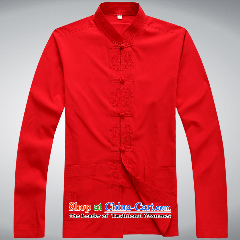 Tang dynasty men fall kit shirt, long-sleeved sweater pants older larger Chinese Tai Chi-red?L