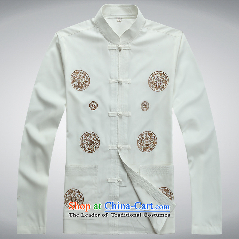 The elderly in the autumn and winter men Tang dynasty long-sleeved Kit Chinese father blouses Taegeuk new trouthes�L White