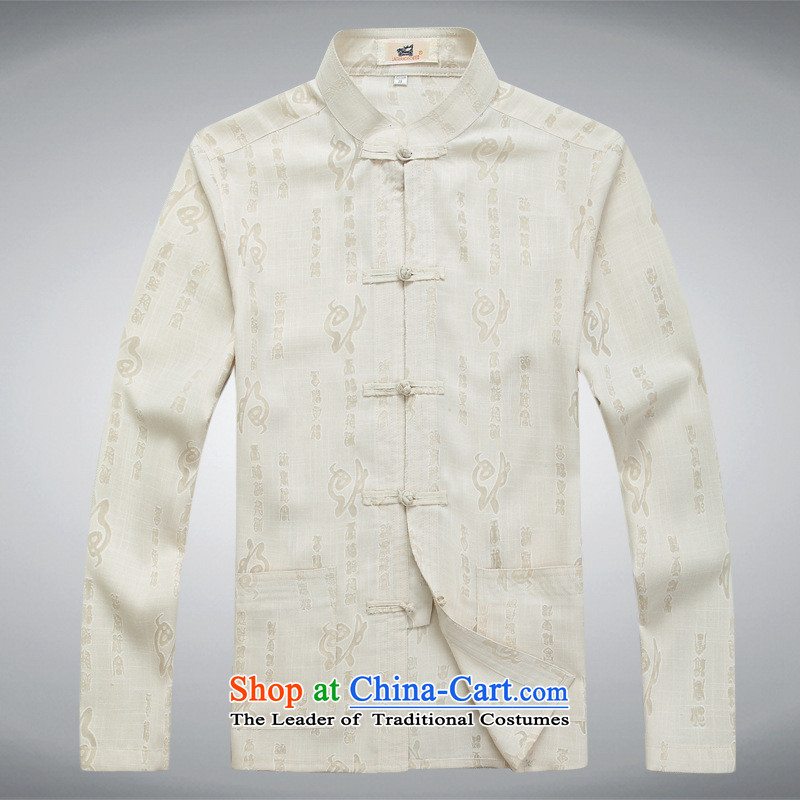 Men in Tang Dynasty long-sleeved older autumn and winter) kit shirt with Taegeuk track suit father exercise clothing beige?3XL Pants
