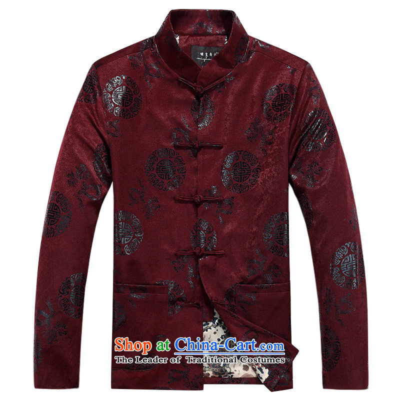 In older men Tang blouses jacket father replacing Chinese autumn and winter coat men new cotton coat red single Yi?190
