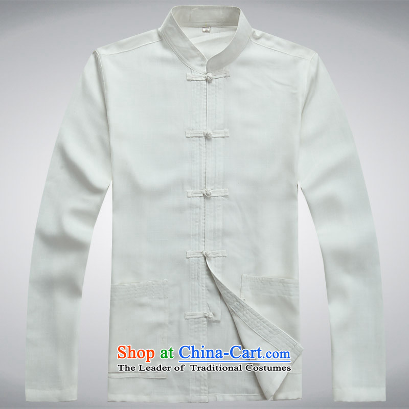 Autumn and winter men in Tang Dynasty long-sleeved blouses elderly men larger Arab leprosy breathable kit tai chi services white?L