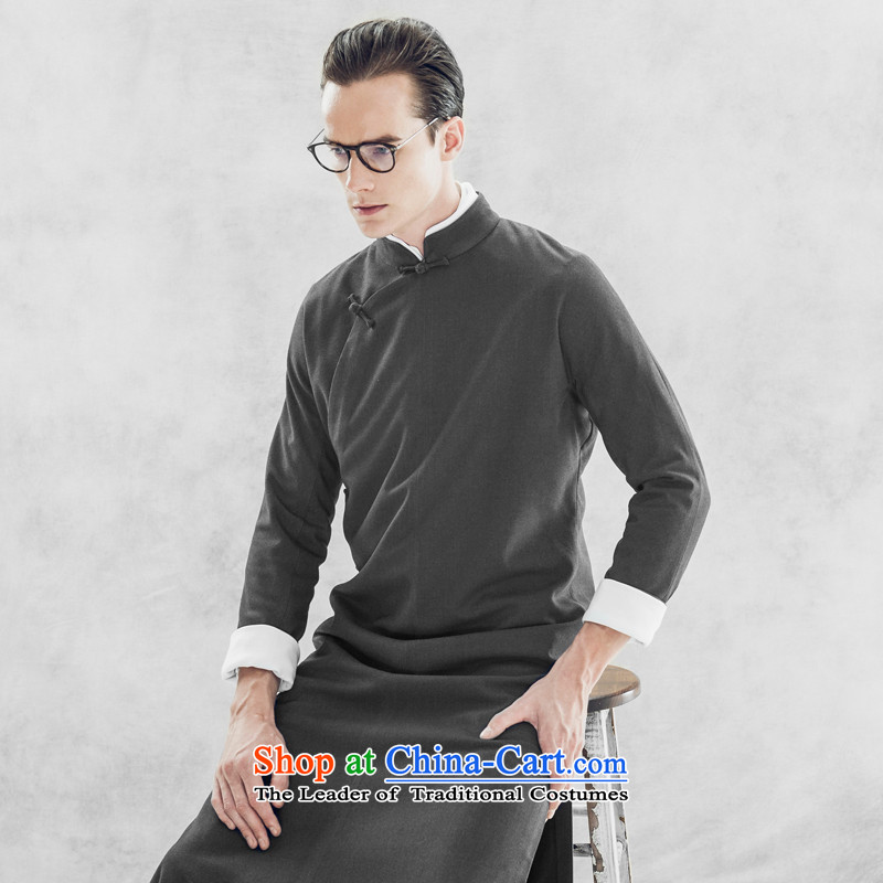 Seventy-tang autumn and winter Chinese collar size improved men is pressed to the national costumes retro style cheongsams robe photography clothing will serve gray?M comic dialogs for the?pre-sale of the week