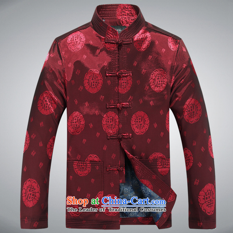 Tang Dynasty men fall and winter coats and wedding banquet birthday celebration for the Tang dynasty cotton coat with Men's Mock-Neck Father Chinese national costumes Chinese gown RED聽M