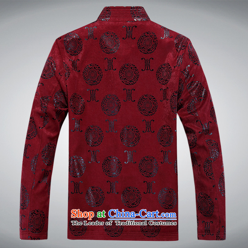Tang dynasty male jacket spring of older persons in the Chinese tunic Long-sleeve Han-casual jacket grandfather casual jacket Chinese tunic Han-XL RED?L