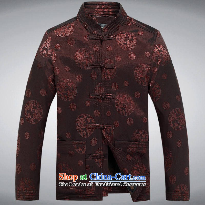 Men Tang jacket during the Spring and Autumn in New Tang Tang dynasty older men and the elderly in the long round long-sleeved brown jacket Tang聽L
