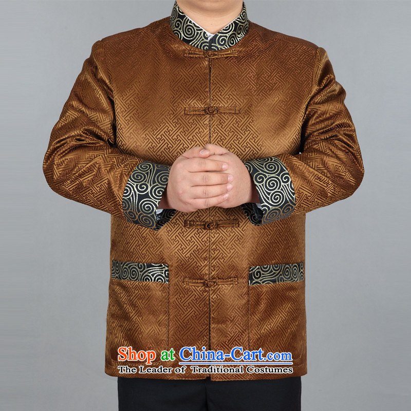 Tang dynasty during the spring and autumn male jacket coat Chinese Han-maximum code disk detained dress silk Han-ethnic performances in long-sleeved shirt older grooms Chinese Dress gold?XXL