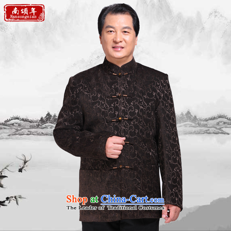 South China Wind, Chung Tang Dynasty Chinese long-sleeved jacket corduroy leisure men in older father replace replace sheikhs load grandpa?6069?coffee?XL