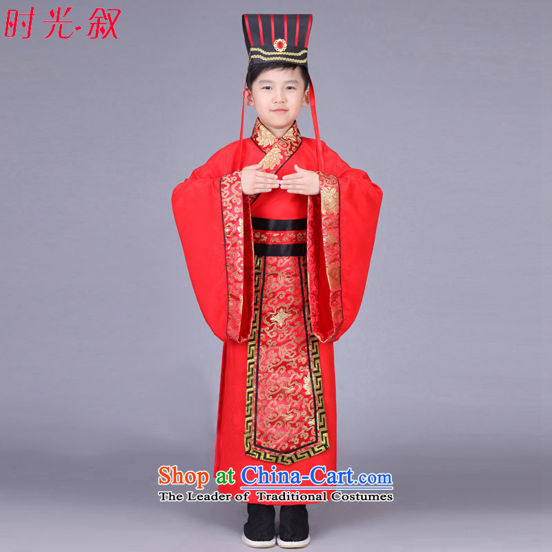 Time the new Syrian children, men and Han-dynasty during the Warring States Period Drama third-country Chin Han Ministers Gau uniforms nunnery costumes cos red聽130CM