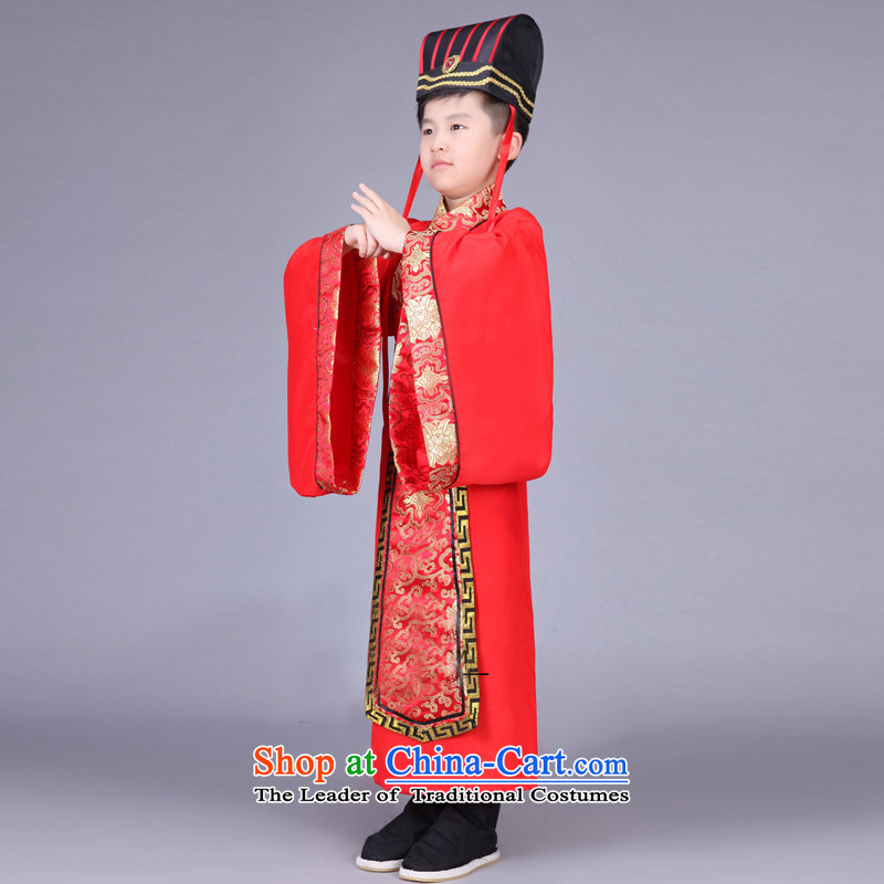 Time the new Syrian children, men and Han-dynasty during the Warring States Period Drama third-country Chin Han Ministers Gau uniforms nunnery costumes cos red 130CM, time Syrian shopping on the Internet has been pressed.