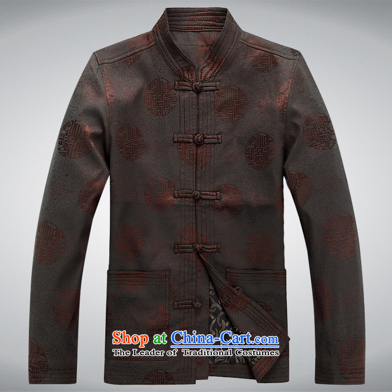 In the spring and autumn 2015 new elderly men long-sleeved jacket Tang millennium a mock-neck disc detained men Jacket Kit Chinese brown shirt XXXL