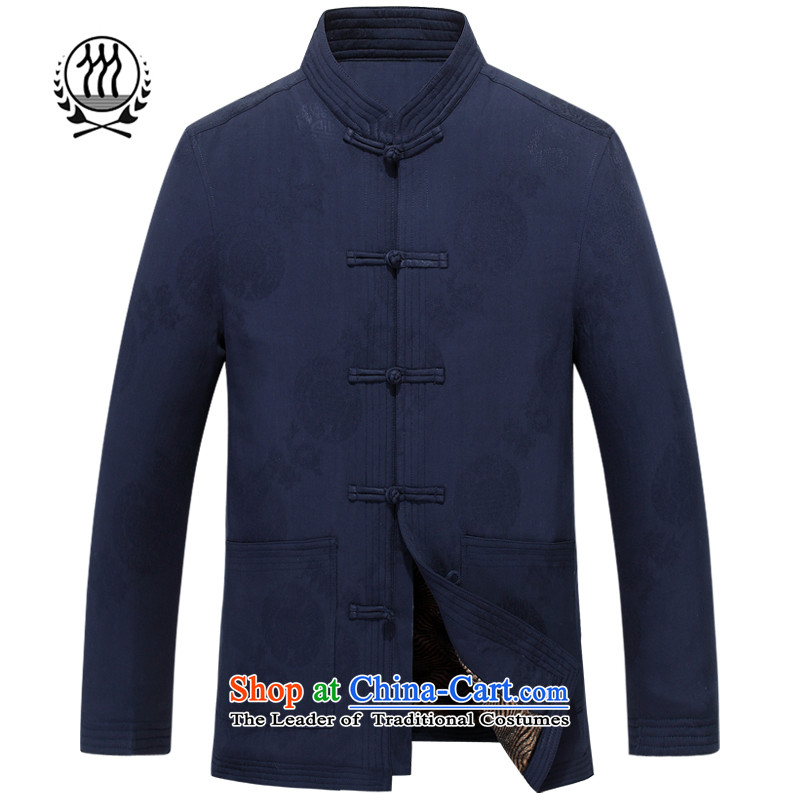 Bosnia and the elderly in the winter line thre new male taxi fare, lint-free cotton waffle Tang dynasty of ethnic Chinese collar long-sleeved jacket robe F88010 TANG  XL_180 blue