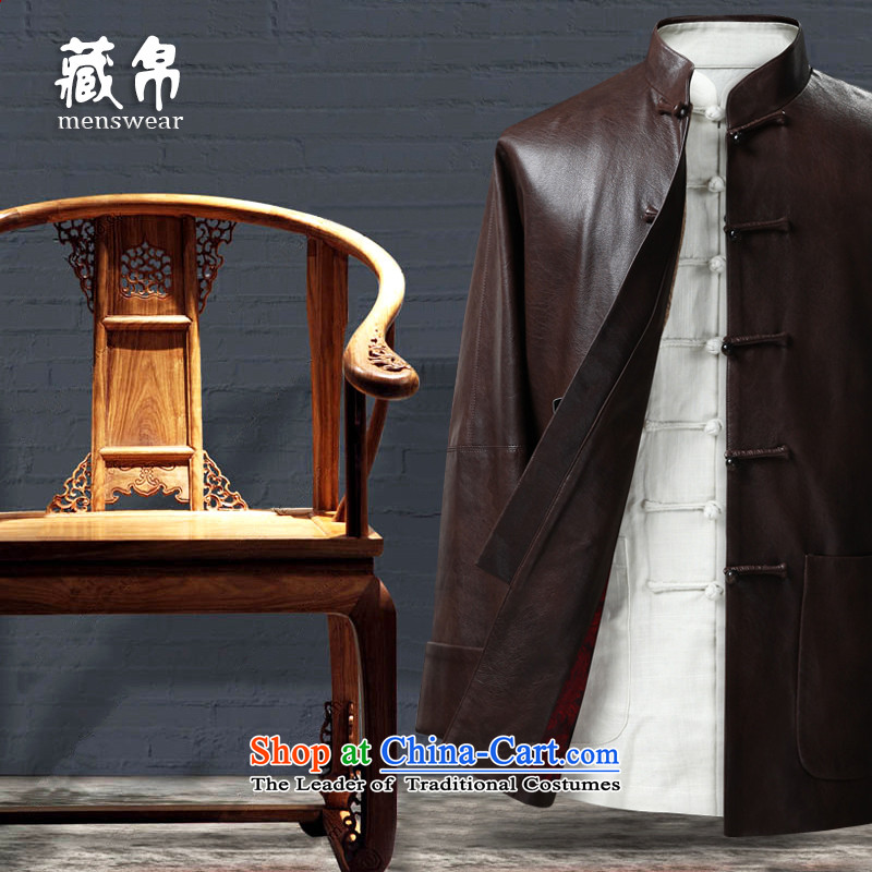 Genuine friendship and possession of Tang dynasty even rotator cuff traditional feel shirt China wind Chinese grandfather father disc detained pu coffee-colored 185_XXL 1208