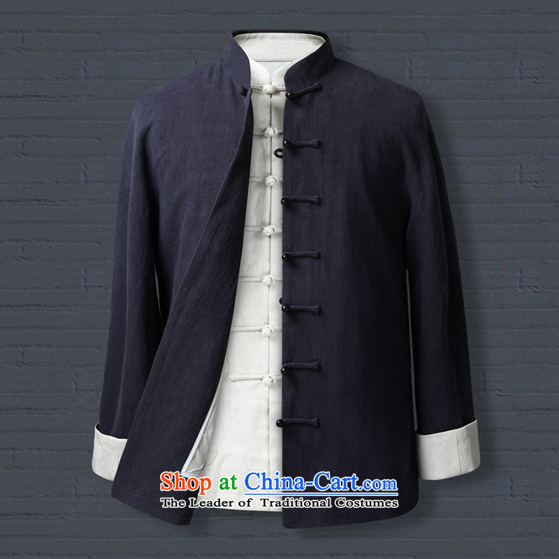 Genuine friendship and possession of ramie old folk weave Tang dynasty China wind Chinese traditional retro jacket disc father grandfather Dark Blue 1323 175/L, Tibetan Silk , , , shopping on the Internet