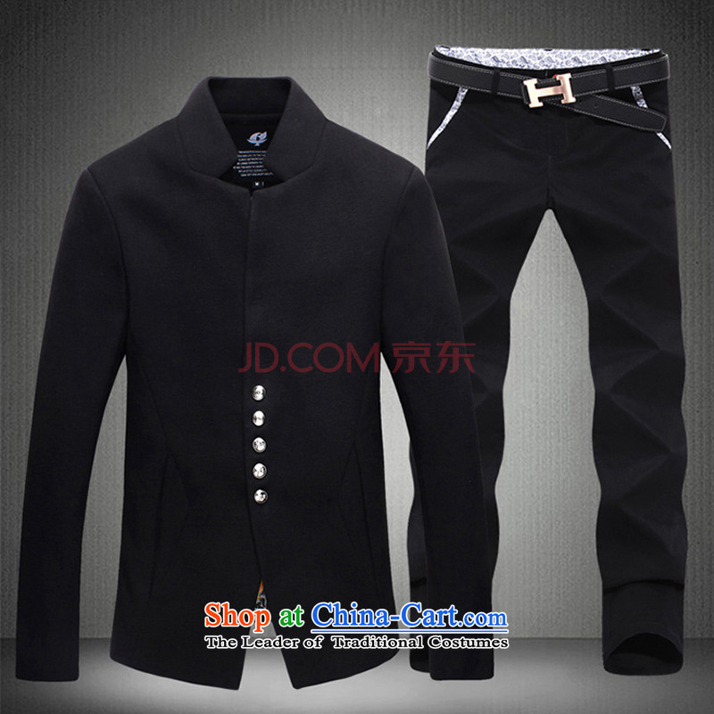 Dan Jie Shi?2015 New Chinese tunic kit chic simplicity with Korean version of the Chinese tunic Kit? black T-shirt and black trousers M pants 29