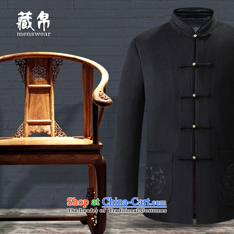 Genuine silk possession national men's woolen gown Tang dynasty? Father grandfather clothing disc Chinese Wind Chinese Black聽175_L 158826