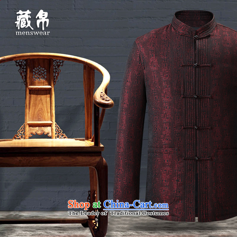 9autumn and winter collections men Tang dynasty banquet marriage for both business and leisure offer package mail disk Zeng Qinghong port collar classical red聽180_XL 158815