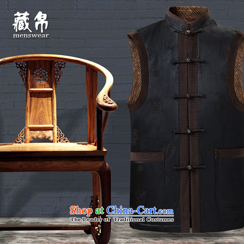 Genuine silk Tibetan men fall and winter silk Tang Gown, a cotton coat jacket limited edition prestige cloud of incense yarn custom Ho Lai?11021-3 175/L dark brown