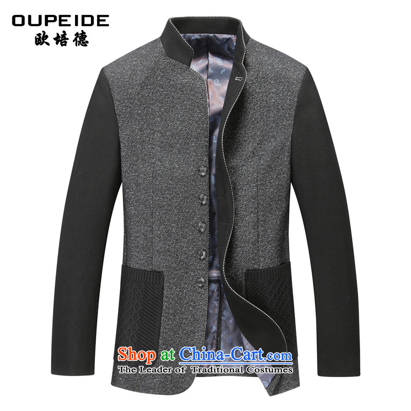 The OSCE PEIDE 2015 new men's woolen coats of middle-aged Chinese tunic? Men's Jackets gray?M