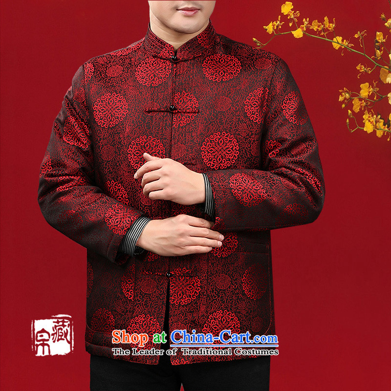 8D man hiding winter Tang Dynasty Chinese national costumes cotton coat in older China wind damask disc red red, 14016 170/M