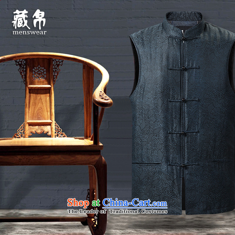 9autumn and winter collections Tang Gown, a tray clip cotton 30 per cent real silk China wind in older grandfather father blue?170/M 158627
