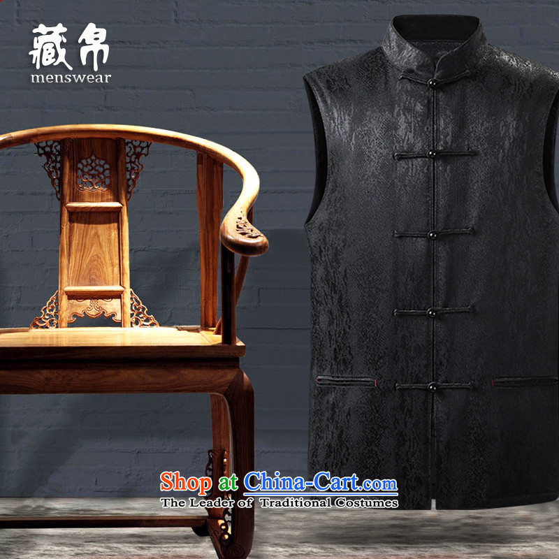 9autumn and winter collections Tang Gown, a tray clip cotton China wind in older grandpa dad warm winter-load black聽180_XL 158811