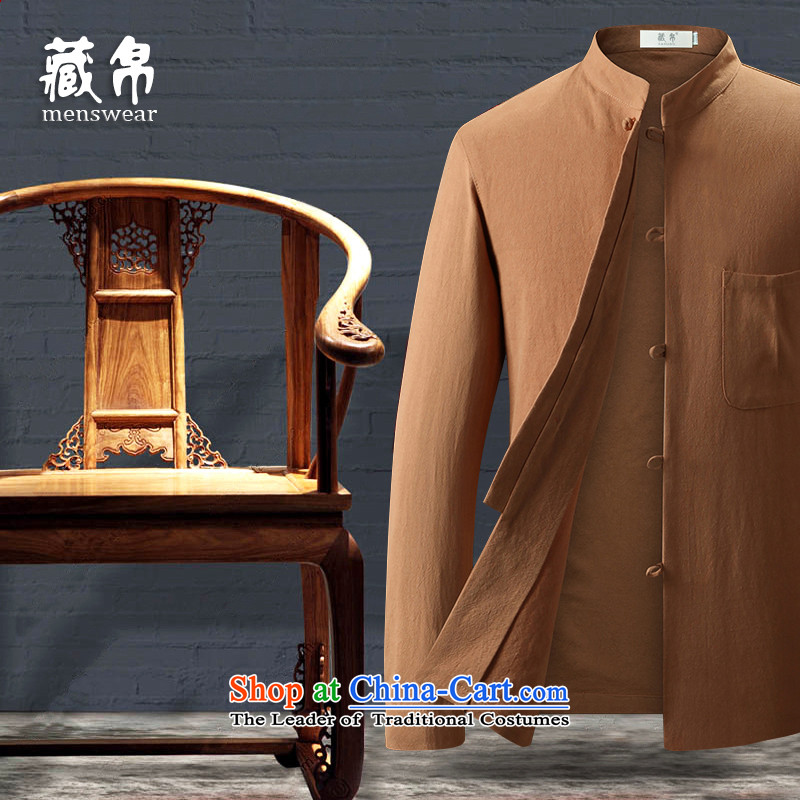 Tang Dynasty Male Silk possession of cotton shirt collar middle-aged and young Chinese wind up forming the Chinese style yellow shirt聽180_XL 7750
