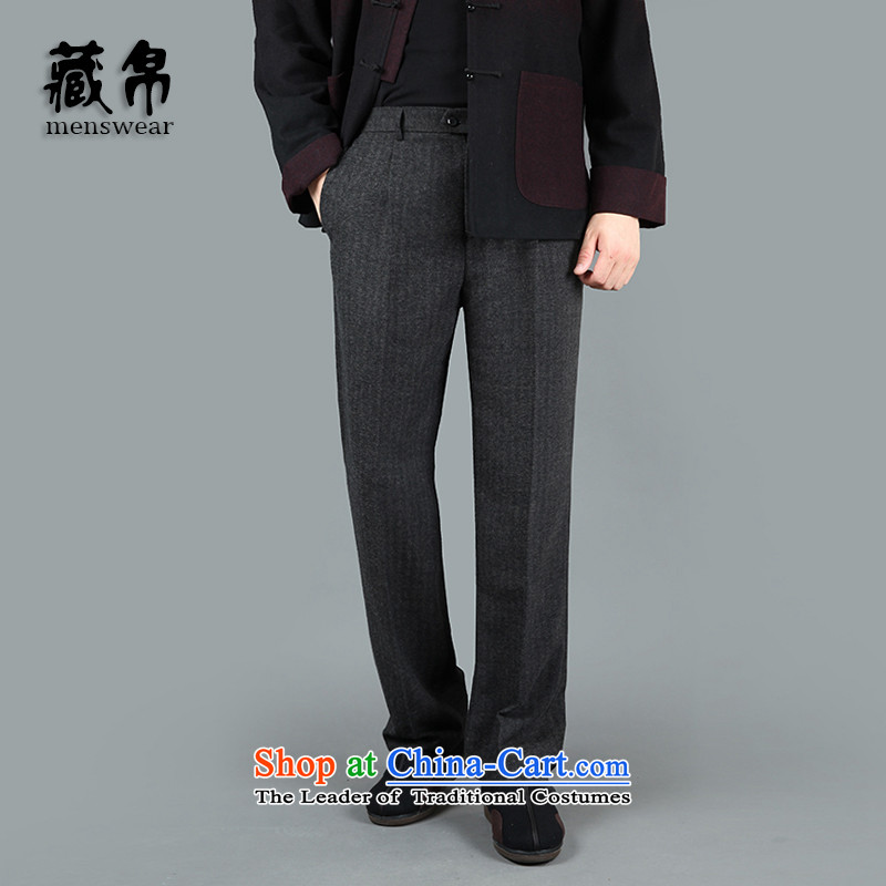 9autumn and winter possession of men, Tang trousers thick with large numbers of high gross national special package deep waist-mail older gray�1502 36(2 feet 8)