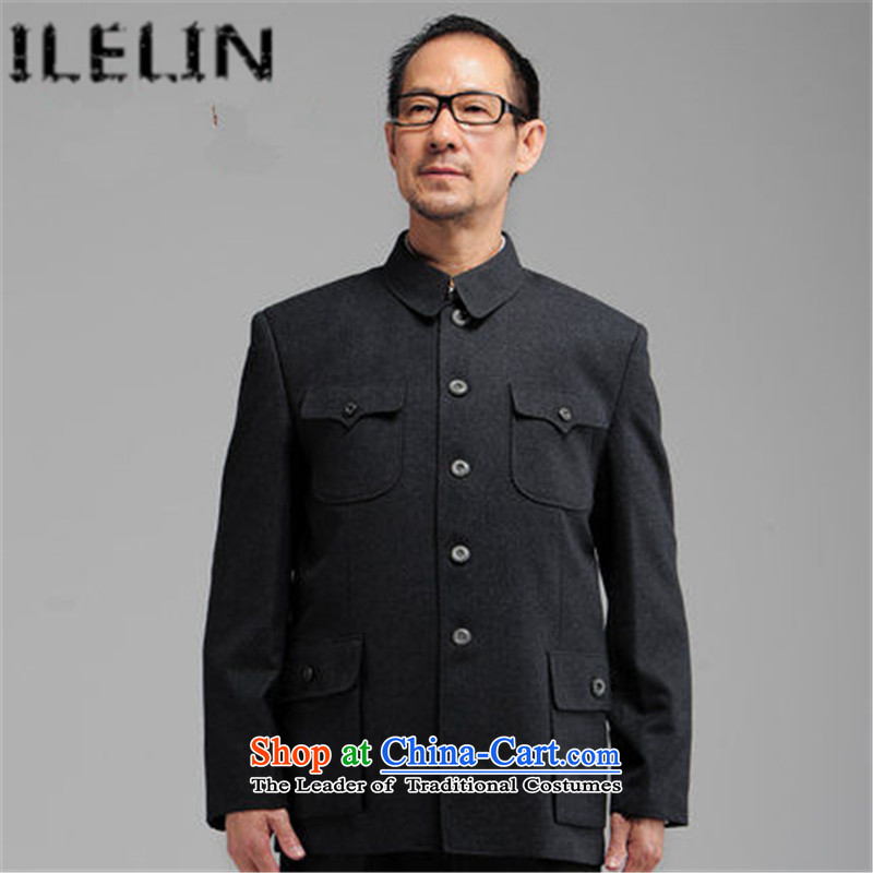 Ilelin2015 autumn and winter in the new elderly men Chinese tunic kit lapel of older persons serving a father jacket Zhongshan boys father replacing dark gray 78