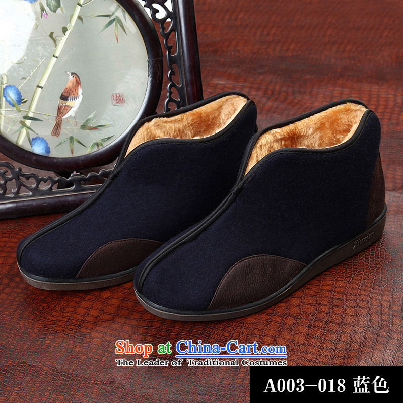 8D 2015 new Tibetan Man Tang Gown series? The cotton shoes gross rate of the elderly in the Chinese leisure�A003-018�Blue�43
