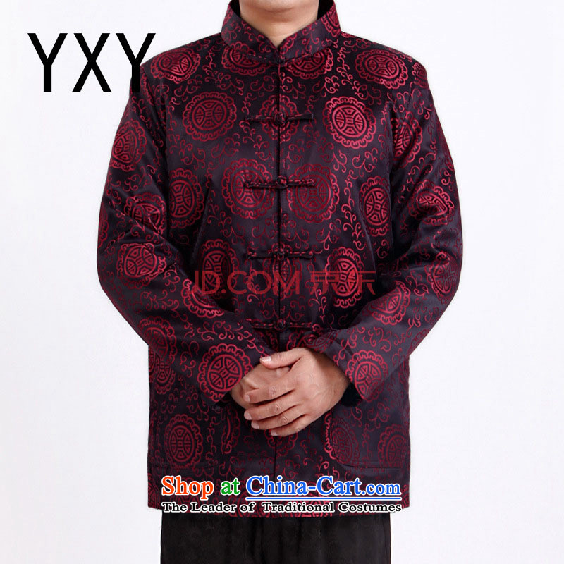 The end of the autumn and winter light grandpa older men Tang dynasty DY1338 jackets with red XXL
