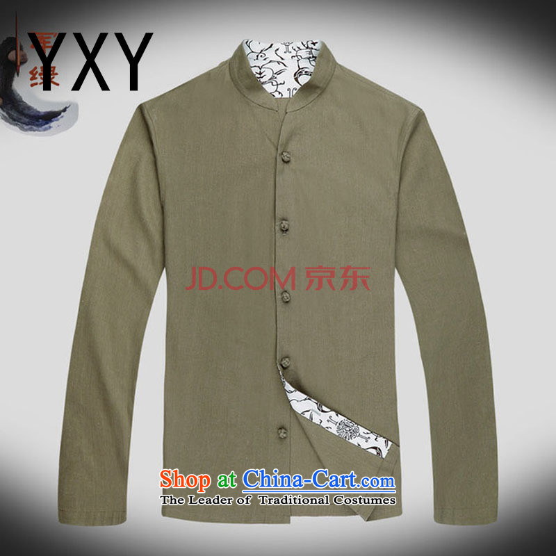 At the end of long-sleeved light China wind collar Chinese improved leisure Tang Dynasty Large male national costumes autumn)�DY053�Army green�L