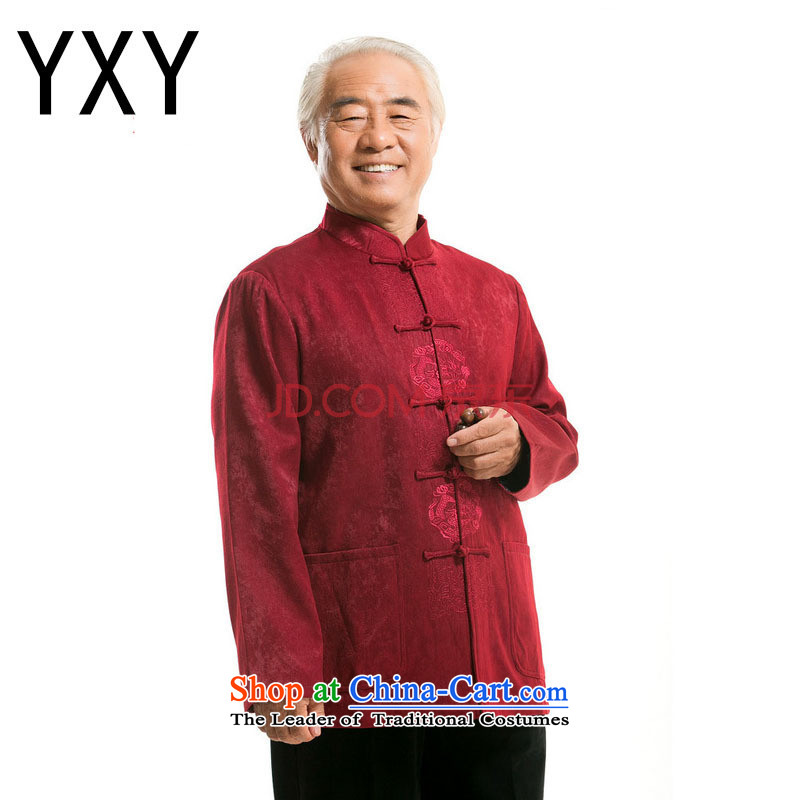 At the end of light in the number of older men long-sleeved T-shirt and Tang dynasty Chinese?DY727??XXXL deep red